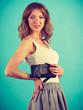 Elegant woman holding hand purse wallet