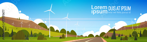Foto op Canvas Pool Wind Turbines Near Road Natural Landscape Background Woth Copy Space Alternative Power Concept Flat Vector Illustration