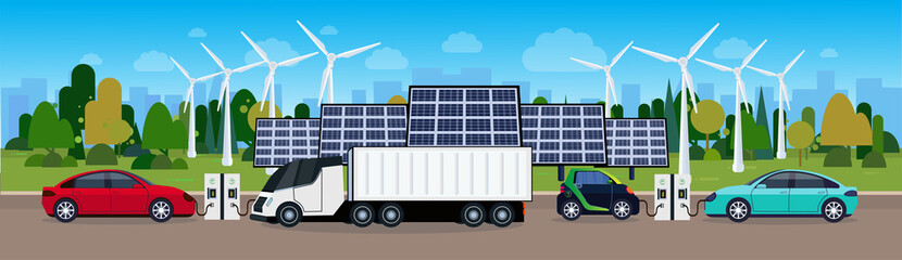 Power Station With Vechicles Charging Over Wind Trurbines And Solar Panel Batteries Eco Friendly Electric Car Concept Flat Vectro Illustration
