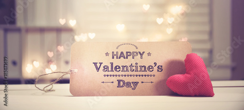Valentine's Day message with a red heart with heart shaped lights