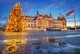 Reichstag christmas tree at night, Berlin, Germany - 185075688