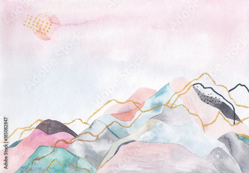 Abstract watercolor background. Japan design. Hand drawn illustration - 185082847