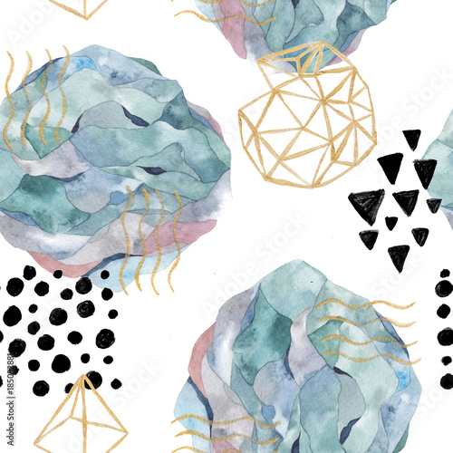 Hand drawn seamless pattern with watercolor and marble elements. Scandinavian design. - 185082881