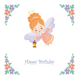 Birthday greeting card with the image of a pretty little angel. Vector illustration on a white background.
