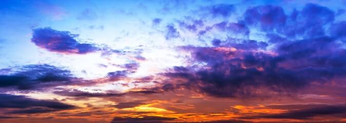 Panorama sky twilight, colorful cloud, and sun light