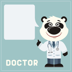 Panda bear doctor with bubble speech in cartoon style. Smiling doctor panda says important information about health.