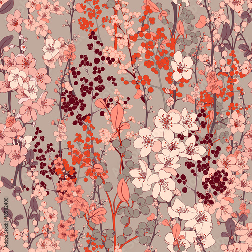 Cotton fabric Cherry Blossom Vector Seamless Background