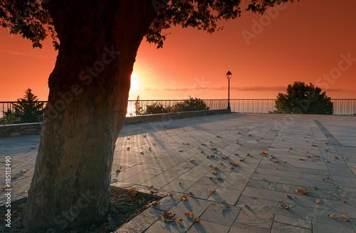 In de dag Baksteen terrasse de Santa Maria Poggio sur la corniche de la Castagniccia en haute Corse