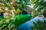 Basses Gorges du Verdon, Quinson en été, beau reflet des arbres et rochers dans l'eau calme. Provence, France.  - 185114013
