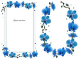 Orchid. Tropical flowers. Floral vector background. Blue. Exotic plants. Frame. Wreath. Border. Card.