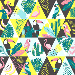 Patchwork pattern with tropical birds. Vector illustration.