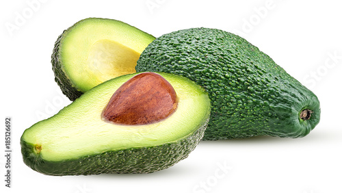 Fotobehang Vruchten Avocado whole and cut in half with bone