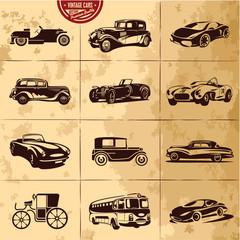 Retro cars icons set. Vintage cars vectors.