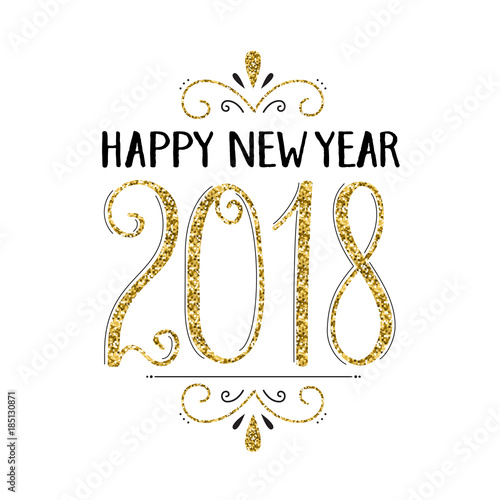 Foto op Canvas Snelle auto s HAPPY NEW YEAR 2018 hand lettered card in gold and black
