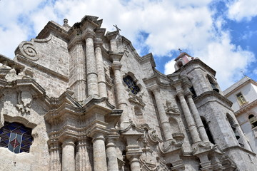 The Havana Cathedral in Cuba. Detail of facade