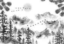 "Постер, картина, фотообои ""Ink Landscape with Mountains and Fir Trees"""