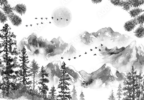 Ink Landscape with Mountains and Fir Trees © val_iva