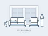 Interior and furniture series. Sofa and chair monoline vector illustration - 185142843