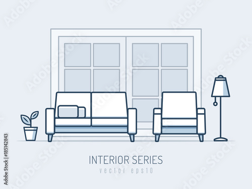 Interior and furniture series. Sofa and chair monoline vector illustration
