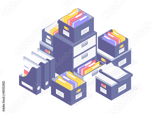 Office paperwork. Office paper document and file folders. Vector illustration © mchlskhrv