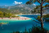 Oludeniz beach and blue clear water of Aegean sea, Turkey - 185154419