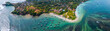 Aerial panorama of the south coast of Sri Lanka, area near the town of Weligama