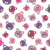 Seamless vector pattern - flat bears