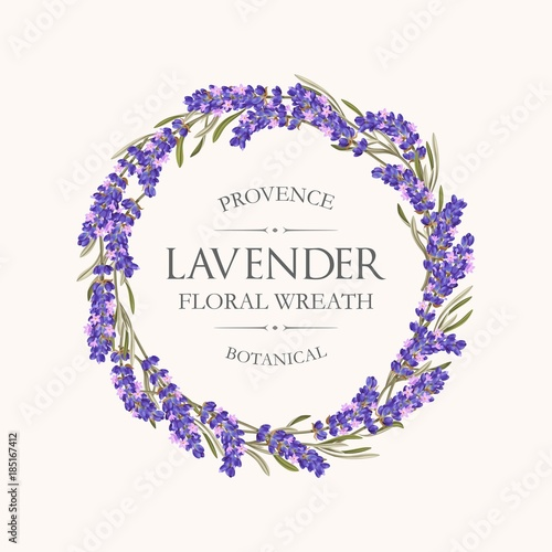 Card with lavender wreath - 185167412