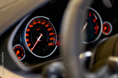 car panel instrument red speedometer and tachometer Poster