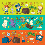 Pirate adventures Pirate party Kindergarten pirate party for children Adventure, treasure, pirates, octopus, whale, ship Kids drawing vector pattern for banners, leaflets, brochure, invitations