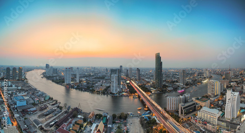 Deurstickers Bangkok Bangkok cityscape. Bangkok night view in the business district. at twilight