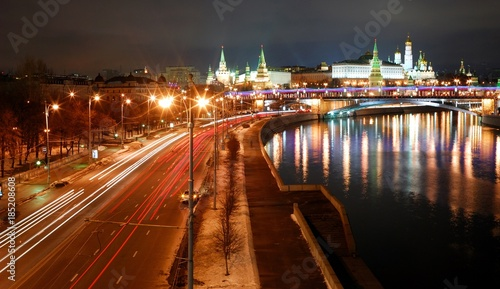 Aluminium Moskou View of Moscow Kremlin river at night. Moscow, Russia/See Moscow Kremlin wall, Kremlin Palaces, Orthodox Christian Churches, Bell tower of Ivan Great