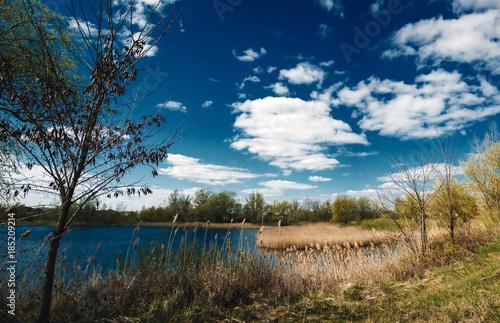 Aluminium Lente Spring landscape, lake, dead, grass, blue sky