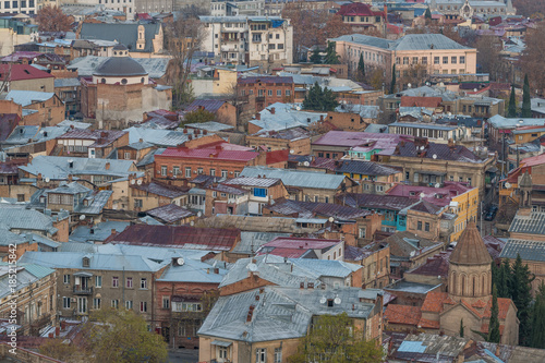 Foto op Plexiglas Cappuccino TBILISI, GEORGIA - DEC. 11, 2017 : Tbilisi old town in the morning taken from the hill
