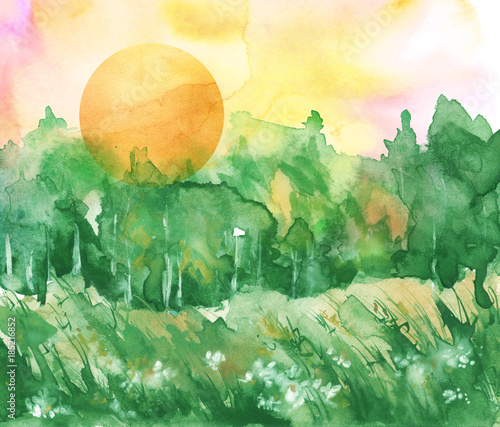 Keuken foto achterwand Zwavel geel Watercolor forest landscape. green trees, bushes, field, wild grass. the silhouette of the forest, orange sun. Art painting, painting, logo.