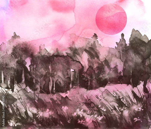 In de dag Lichtroze Watercolor drawing, illustration. Forest landscape, fir, pine, tree, cedar, red, pink sun, sunset, sunrise. Splash paint, abstract illustration. Art painting. Summer landscape.