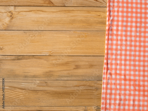 picnic blanket top view on wooden table Poster