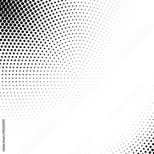 Vector abstract dotted halftone template background. Pop art dotted gradient design element. Grunge halftone textured pattern with dots. © Oksana Kumer