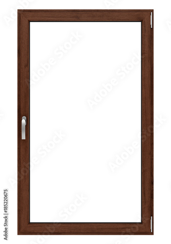 brown wooden window isolated on white background - 185220675