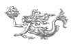 Постер, плакат: Русалка несущая парусный кораблик аллегория моря Рисунок тушью на белом фоне