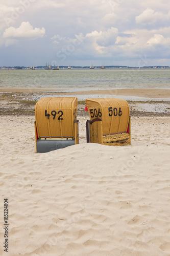 Fotobehang Zeilen Beach Chairs at the Bay of Kiel