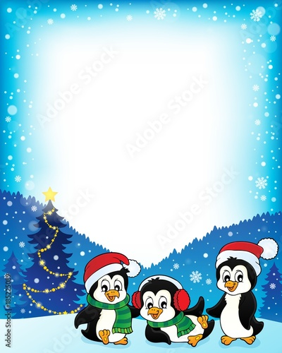Fotobehang Voor kinderen Christmas penguins thematic frame 1