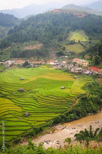 Fotobehang Terraced rice field in Northern Vietnam