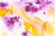 Abstract painting with bright yellow and purple paint blots on white