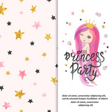 Princess party invitation template. Vector Birthday card design for little girl.