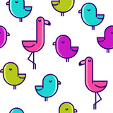 Vector seamless pattern with flat birds. Flamingo and little kiwi. - 185247273