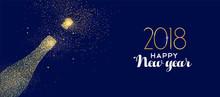 Happy New Year 2018 Gold Glitter Champagne Bottle Sticker