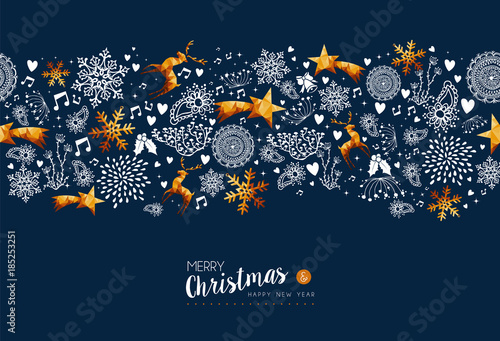 Christmas and new year holiday gold greeting card