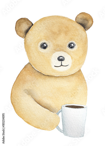 Teddy bear holding white glass cup in hand. Soft, cozy, warm, light, fluffy little one, shining beady eyes. Sympathy, children tea party invitation. Watercolour isolated illustration, white background - 185254095