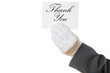 Waiter holding a Thank you card on white background